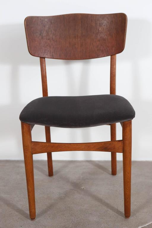 Mid Century Teak Framed Dining Chairs With Velvet Seat Cushion At 1stdibs