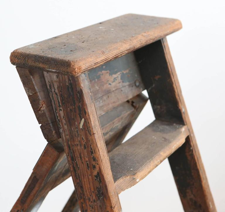 American Rustic Five-Step Wooden Ladder For Sale