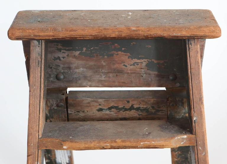 19th Century Rustic Five-Step Wooden Ladder For Sale