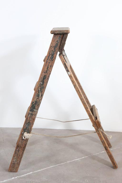 Rustic Five-Step Wooden Ladder For Sale 1