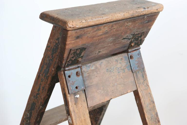 Rustic Five-Step Wooden Ladder For Sale 3