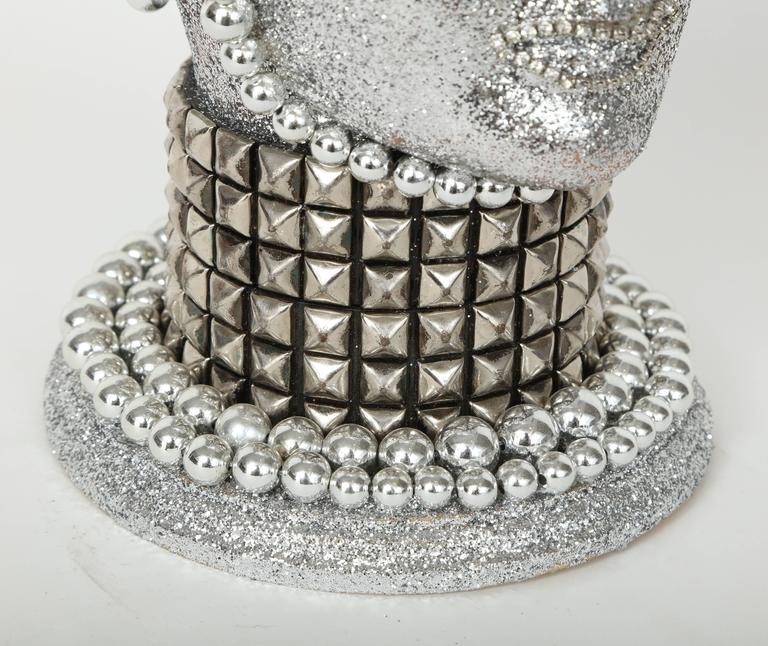 Modern Silver Metallic Android Bust by W. Beaupre For Sale