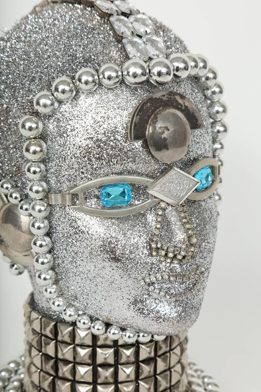 American Silver Metallic Android Bust by W. Beaupre For Sale