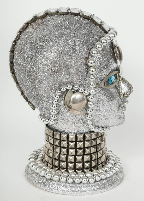 Silver Metallic Android Bust by W. Beaupre In Excellent Condition For Sale In New York, NY