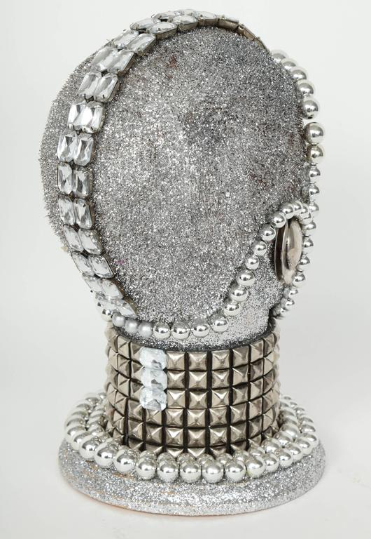 Contemporary Silver Metallic Android Bust by W. Beaupre For Sale