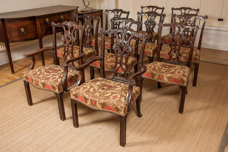 Chippendale Mahogany Dining Chairs, 19th Century, Set of Ten For Sale