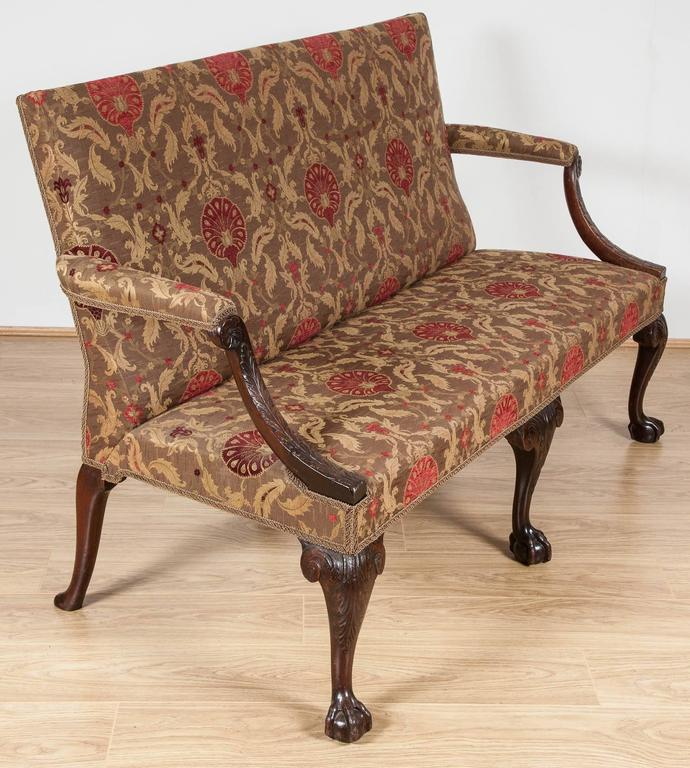 18th Century Settee, Mahogany Carved Cabriole Legs, 1750 For Sale 2