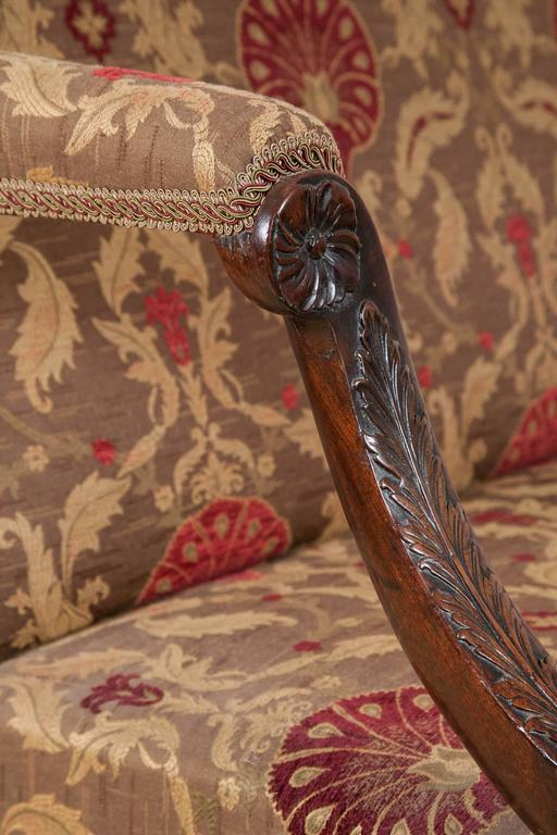 18th Century Settee, Mahogany Carved Cabriole Legs, 1750 For Sale 3