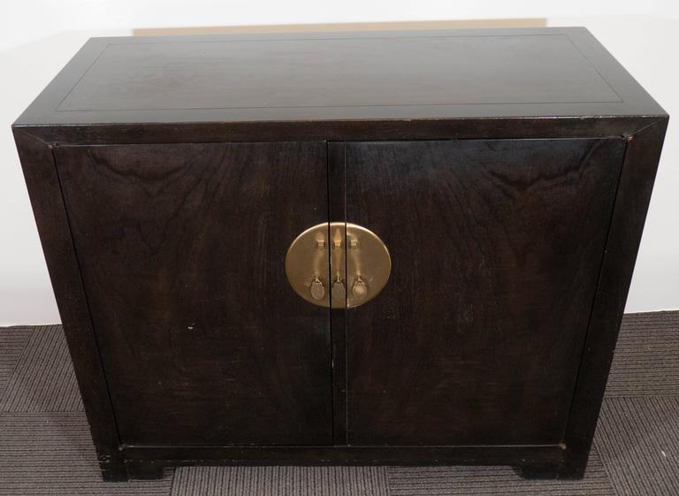 American Baker Asian Inspired Ebonized Cabinet For Sale