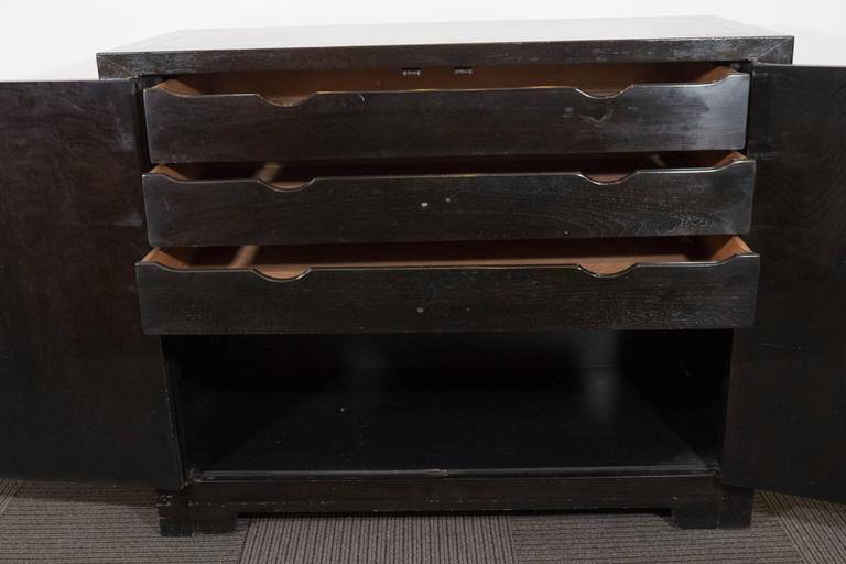 Baker Asian Inspired Ebonized Cabinet In Good Condition For Sale In New York, NY