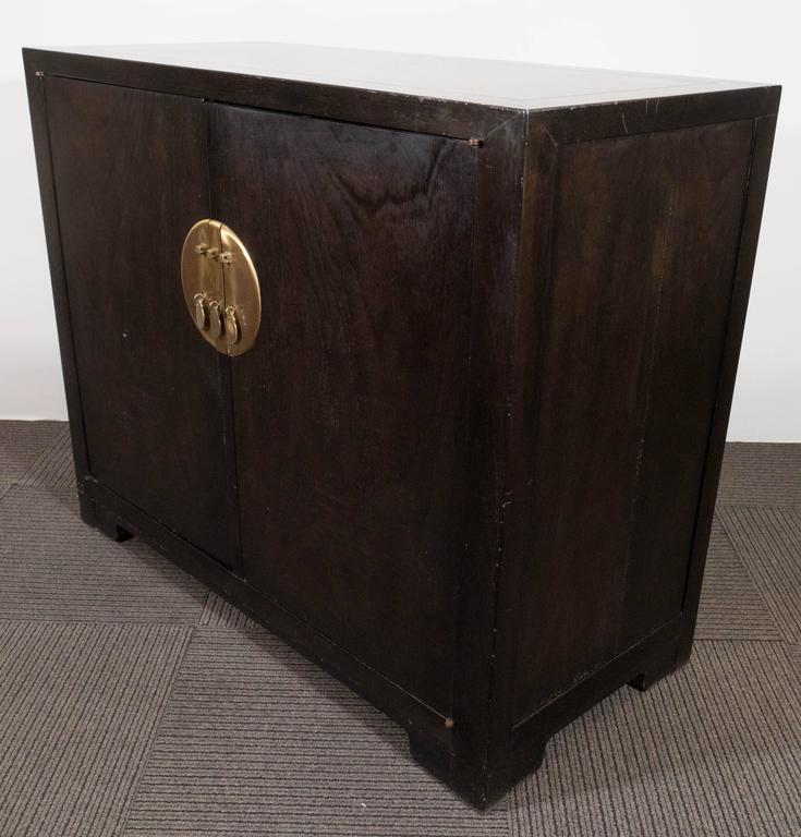 Brass Baker Asian Inspired Ebonized Cabinet For Sale