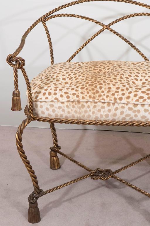 Hollywood Regency Mid-Century Italian Gilt Rope and Tassel Settee with Leopard Print Velvet Seat For Sale
