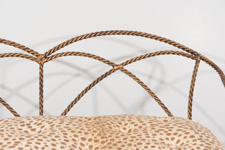 Mid-Century Italian Gilt Rope and Tassel Settee with Leopard Print Velvet Seat In Good Condition For Sale In New York, NY