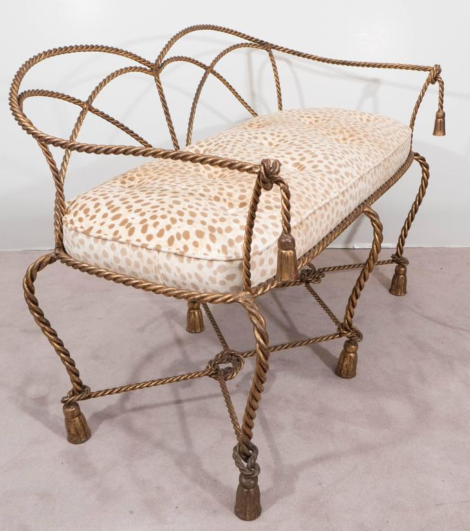 Mid-20th Century Mid-Century Italian Gilt Rope and Tassel Settee with Leopard Print Velvet Seat For Sale
