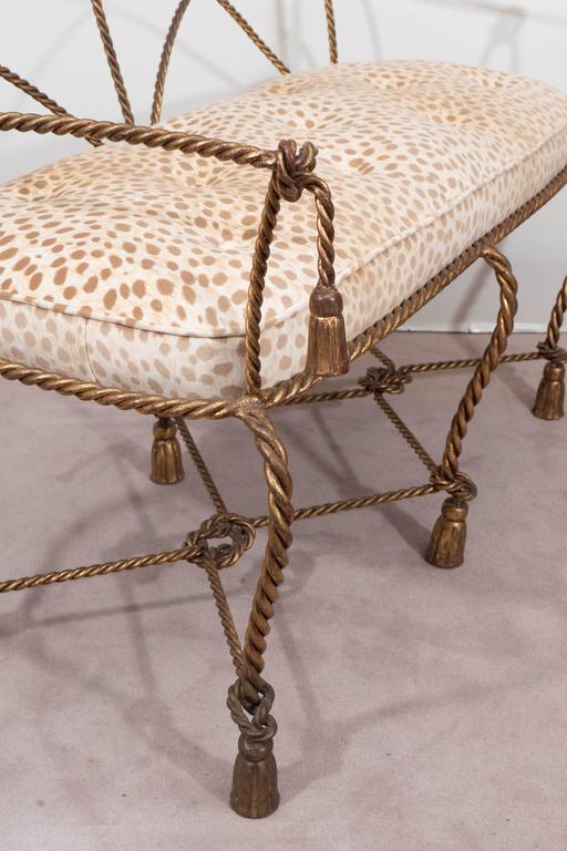 Mid-Century Italian Gilt Rope and Tassel Settee with Leopard Print Velvet Seat For Sale 1