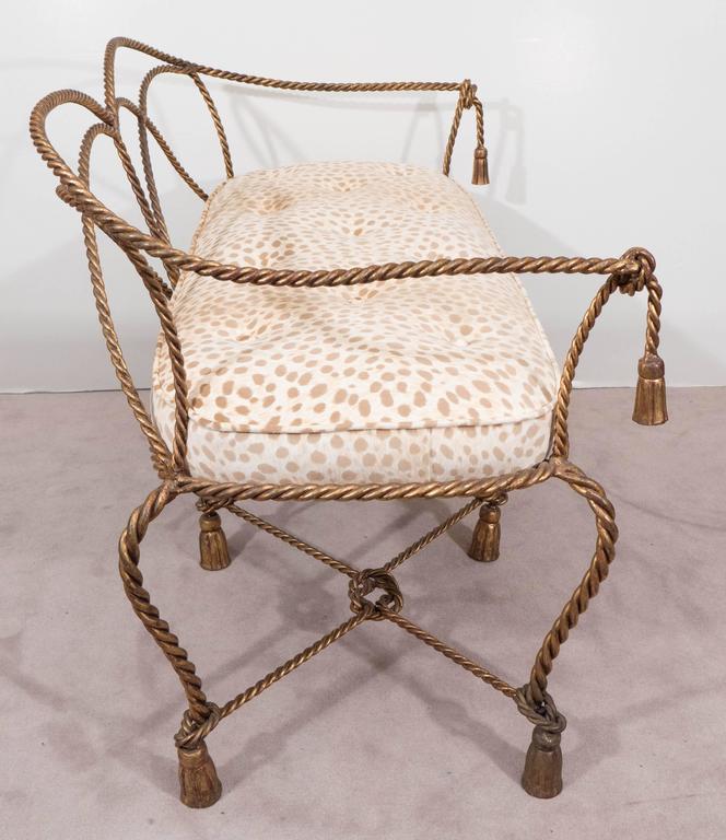 Mid-Century Italian Gilt Rope and Tassel Settee with Leopard Print Velvet Seat For Sale 2
