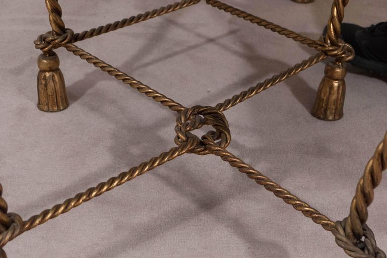 Mid-Century Italian Gilt Rope and Tassel Settee with Leopard Print Velvet Seat For Sale 3