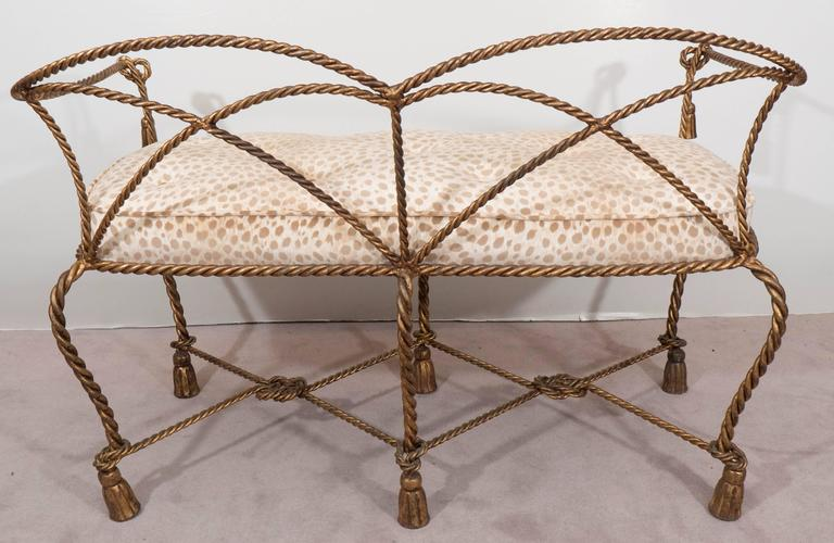 Mid-Century Italian Gilt Rope and Tassel Settee with Leopard Print Velvet Seat For Sale 4