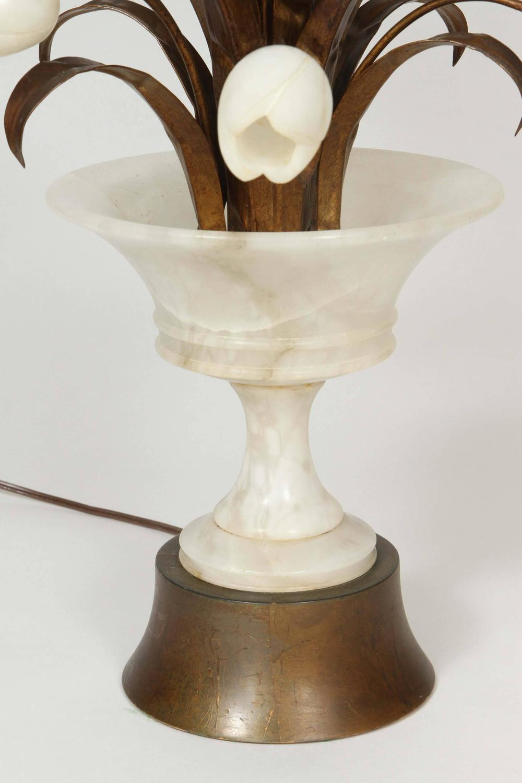 Vintage Alabaster Lamp Of Vase With Tulips At 1stdibs