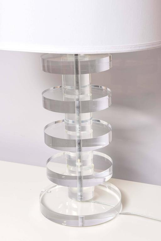 SALE! SALE!SALE! Karl Springer Style, Huge Lucite Lamps, Vintage, Chunky Lucite In Excellent Condition For Sale In Miami, Miami Design District, FL