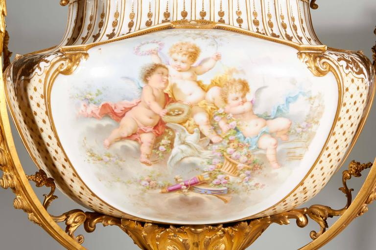 Napoleon III Important and Monumental Ormolu and Sèvres Style Porcelain Jardiniere For Sale