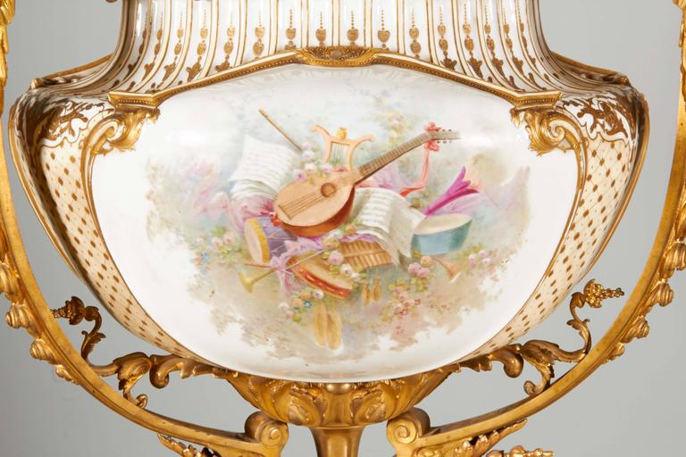 Important and Monumental Ormolu and Sèvres Style Porcelain Jardiniere For Sale 1