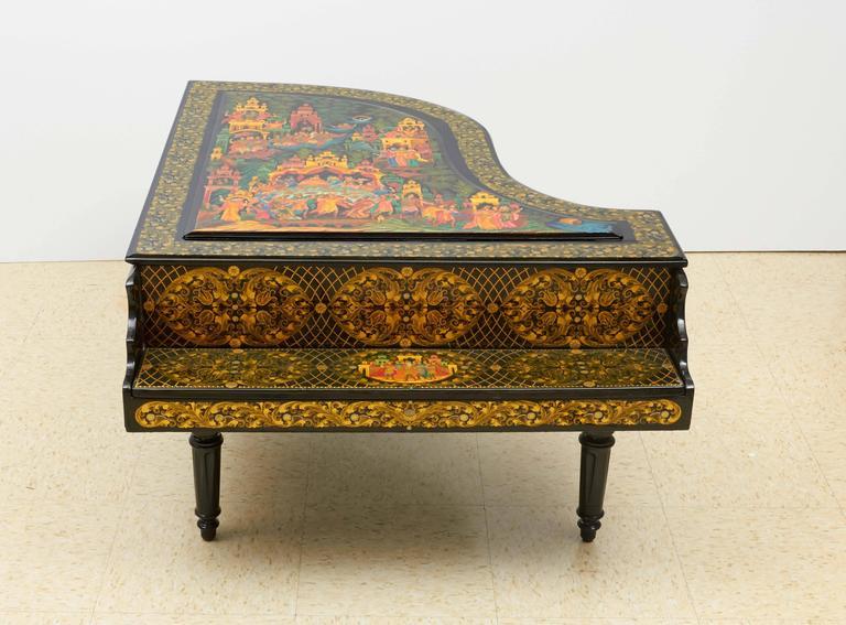 Very Rare & Unusual Russian Lacquer Wood Piano Storage Box Palekh Monumental 2
