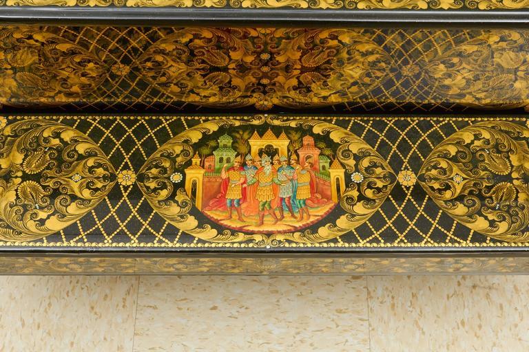 Very Rare & Unusual Russian Lacquer Wood Piano Storage Box Palekh Monumental 3