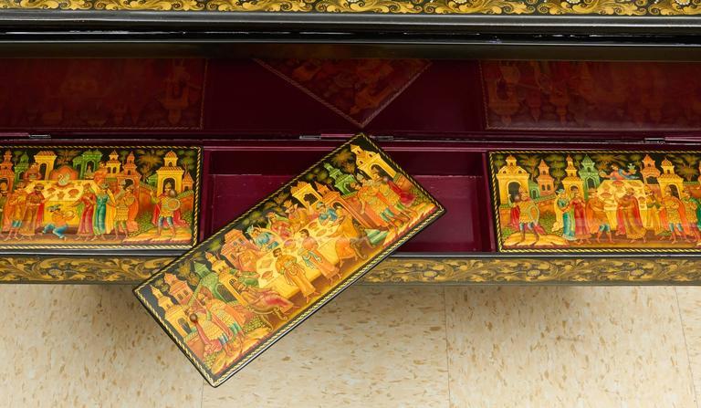 Very Rare & Unusual Russian Lacquer Wood Piano Storage Box Palekh Monumental 5