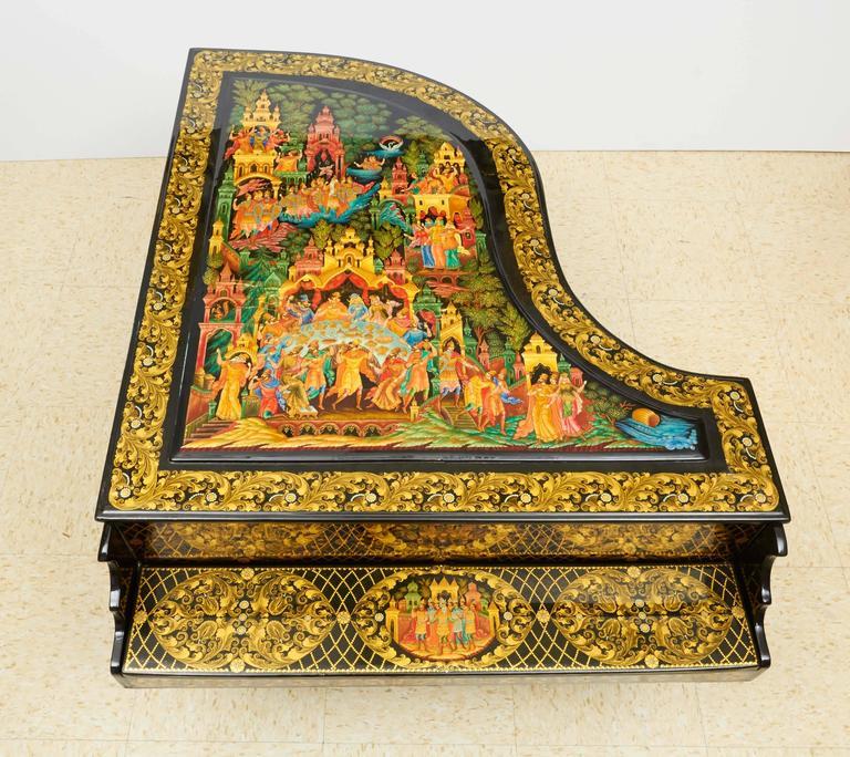 Very Rare & Unusual Russian Lacquer Wood Piano Storage Box Palekh Monumental 6