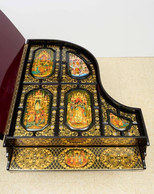 Very Rare & Unusual Russian Lacquer Wood Piano Storage Box Palekh Monumental 7
