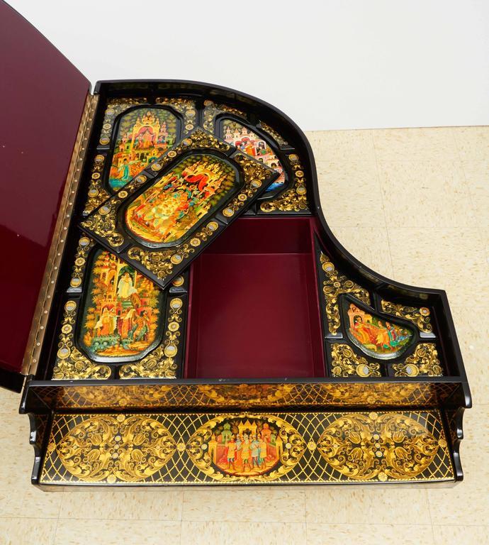 Very Rare & Unusual Russian Lacquer Wood Piano Storage Box Palekh Monumental 8