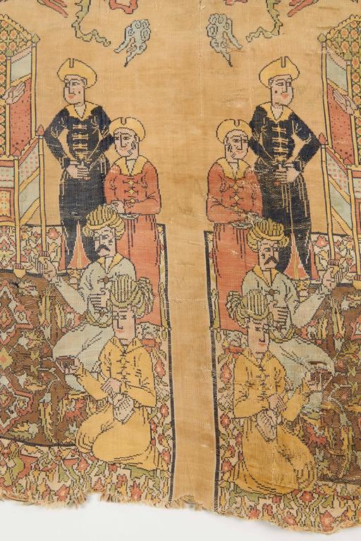 Rare Islamic Persian Safavid Silk Lampas Textile Fragment, Safavid Dynasty