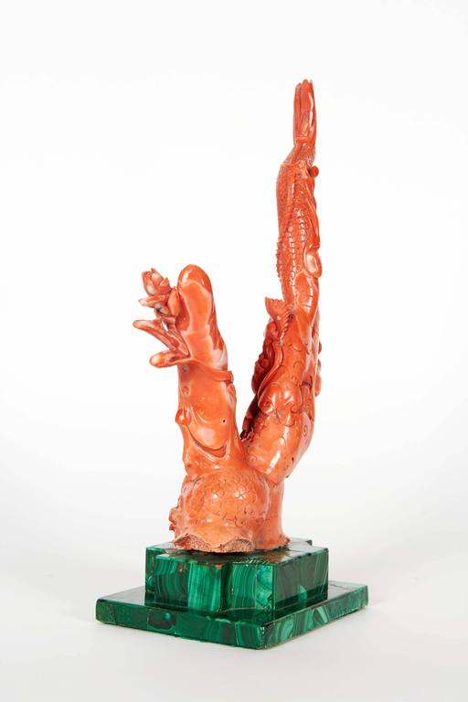 Very fine chinese carved coral figure of guanyin and