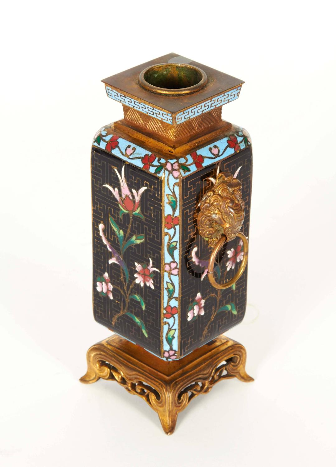 pair of french japonisme ormolu and champlev cloisonn enamel vases for sale at 1stdibs. Black Bedroom Furniture Sets. Home Design Ideas