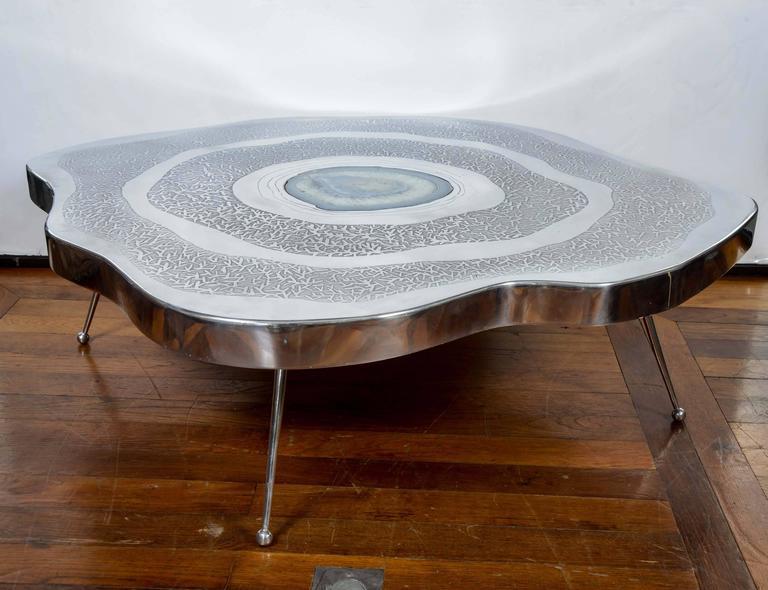 Free Shape Aluminium and Agate Coffee Table 2 - Free Shape Aluminium And Agate Coffee Table For Sale At 1stdibs
