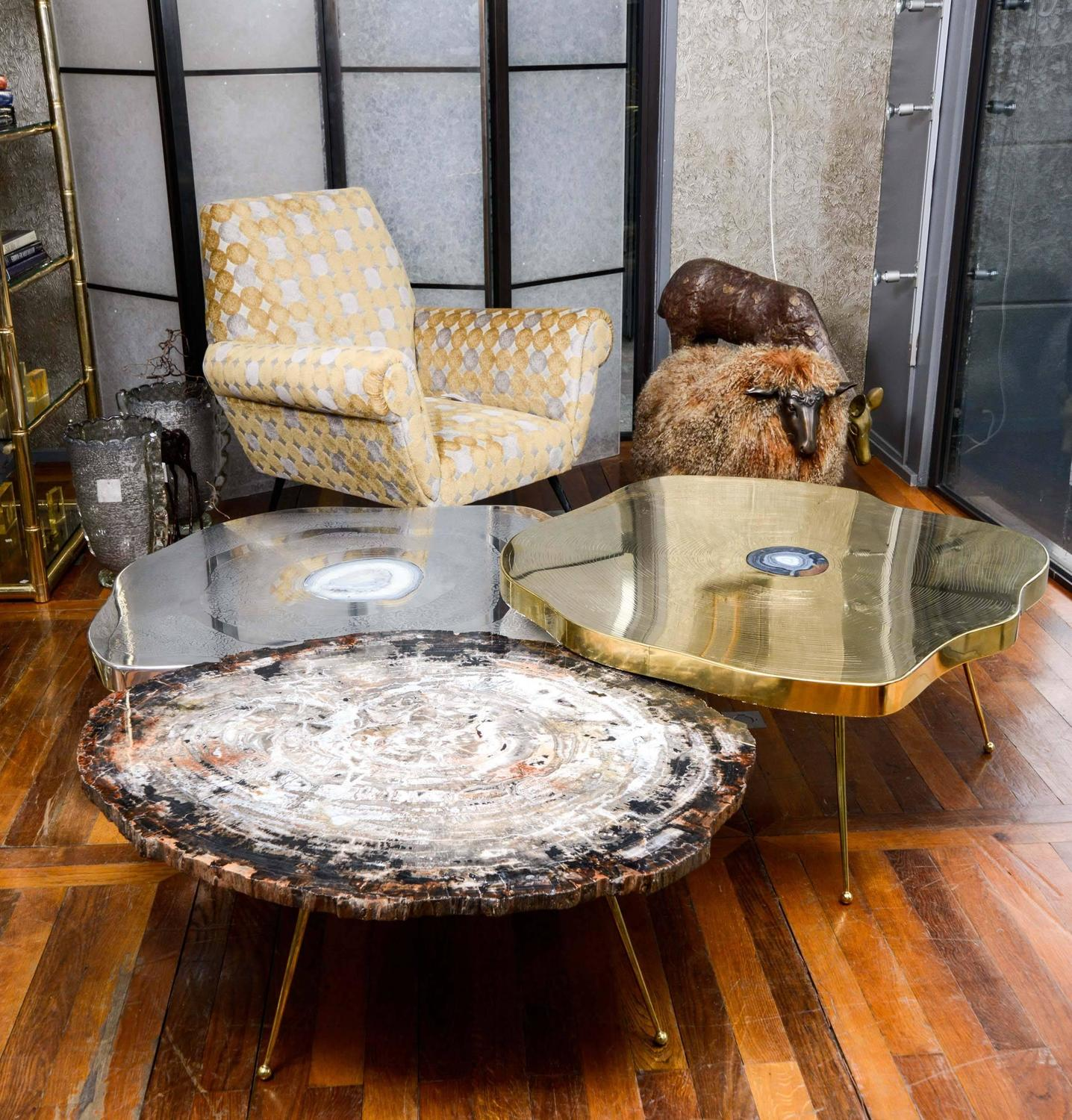 Agate Marble And Brass Round Cocktail Table At 1stdibs: Free-Form Brass And Agate Coffee Table For Sale At 1stdibs