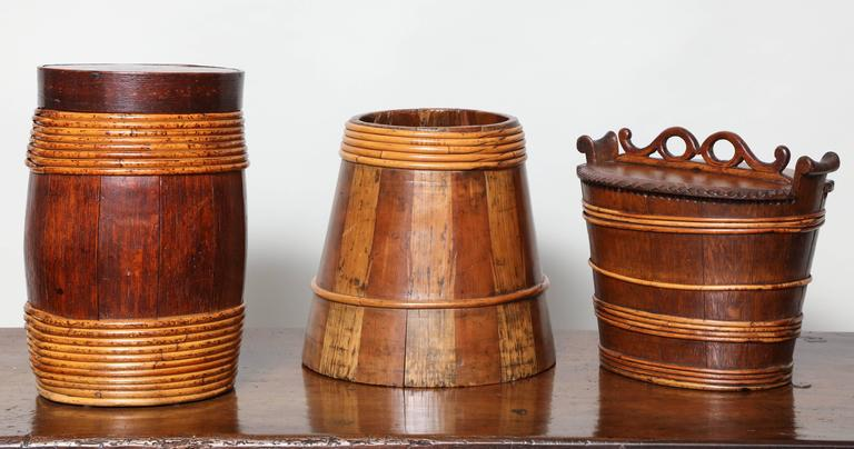 Folk Art Collection of Willow Banded Treen Vessels For Sale