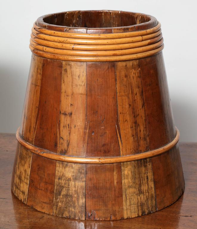 Fruitwood Collection of Willow Banded Treen Vessels For Sale