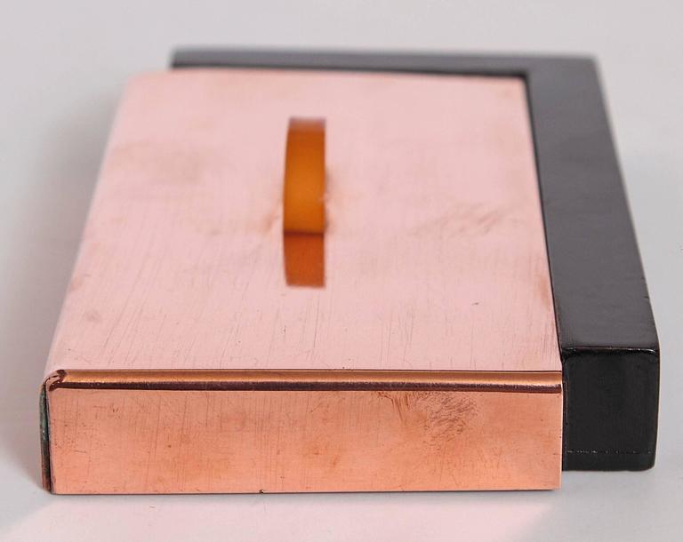 Unknown Machine Age Art Deco Asymmetric Covered Box in Copper, Catalin and Lacquer For Sale