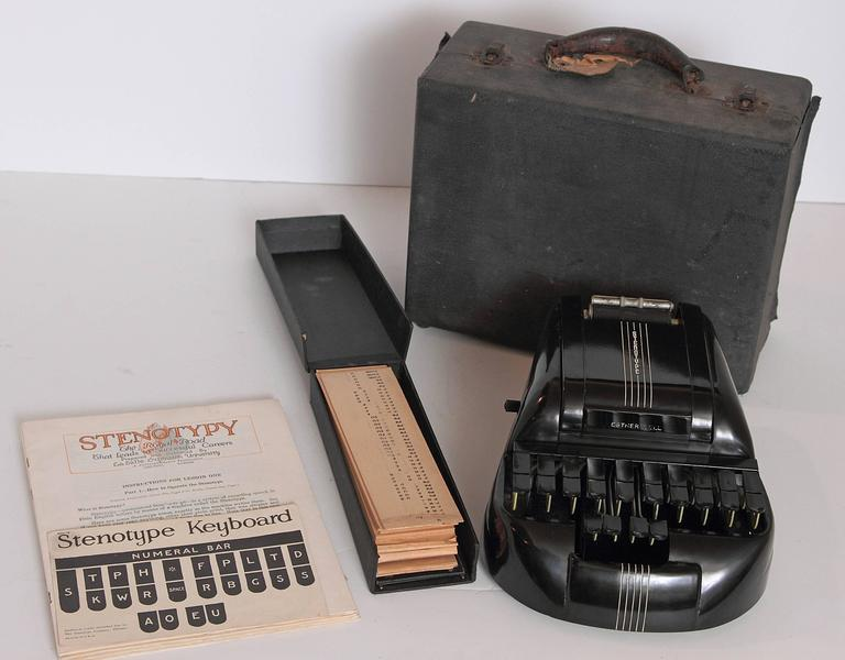 Machine Age Art Deco Streamline Black Bakelite Stenography Set circa 1939  PRICE REDUCED  William Petzold's extreme industrial re-design for The Stenotype Company. Patent granted in 1940 to Petzold, assignor to General Electric. One of our favorite