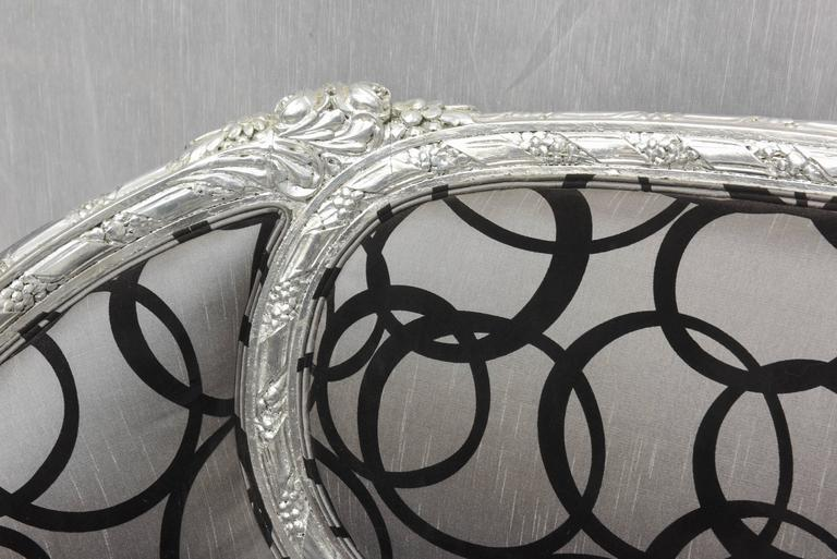 Wedding Loveseat West Indies Mahogany Silver Leaves Finish, 19th Century Sofa 1