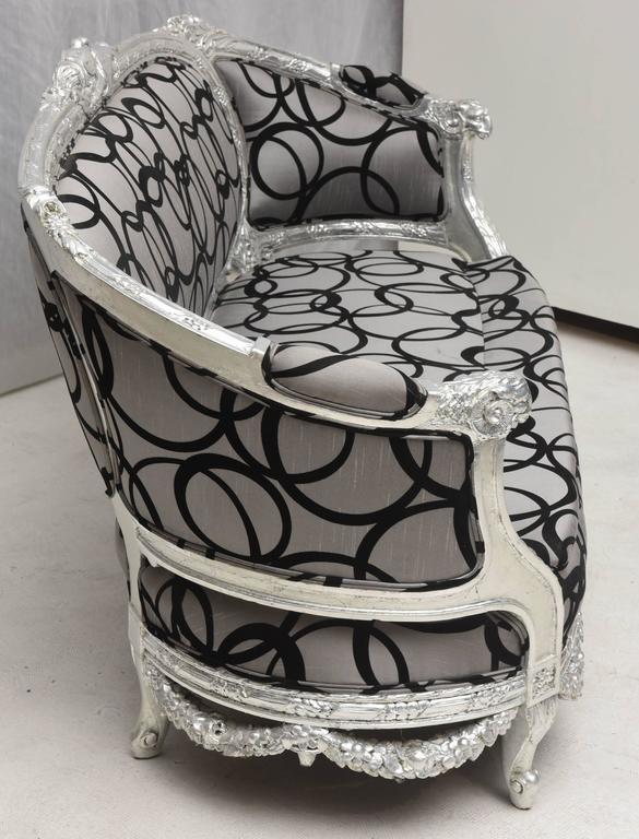 Wedding Loveseat West Indies Mahogany Silver Leaves Finish, 19th Century Sofa 2