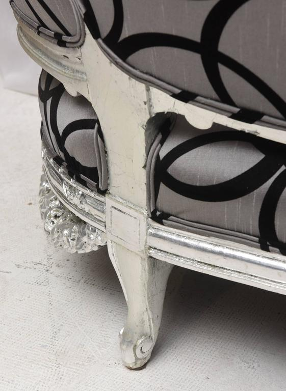 Wedding Loveseat West Indies Mahogany Silver Leaves Finish, 19th Century Sofa 3