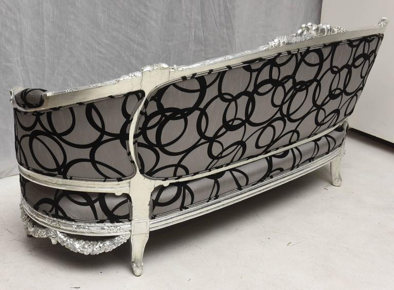 Wedding Loveseat West Indies Mahogany Silver Leaves Finish, 19th Century Sofa 4