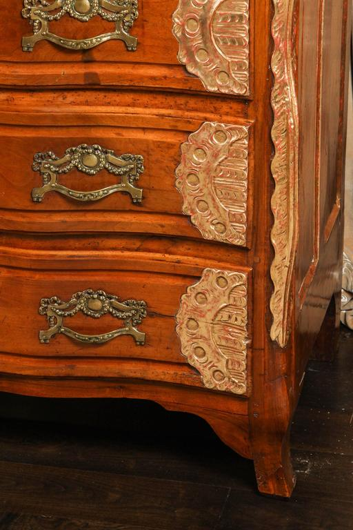 Cast 18th Century Lyonaise Three Drawer Walnut Commode For Sale