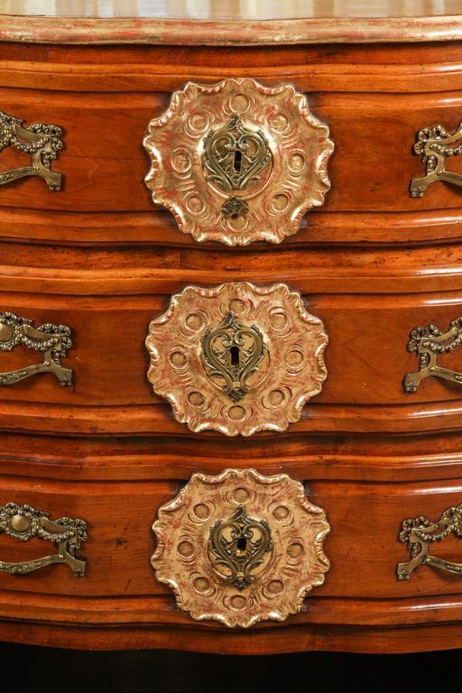 Bronze 18th Century Lyonaise Three Drawer Walnut Commode For Sale