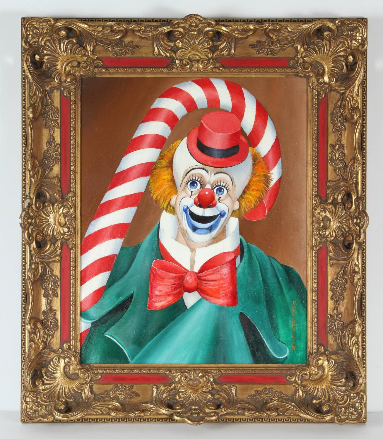 Original signed oil painting of clown by red skelton for for Original oil paintings for sale by artist