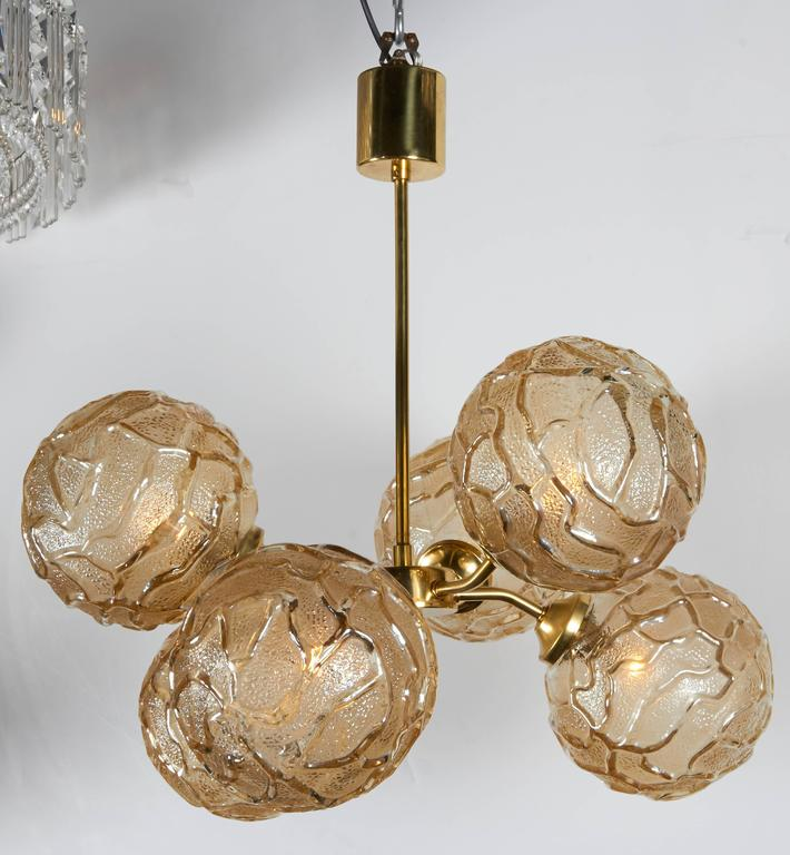 French Mid-Century Sputnik Chandelier with Champagne Glass Globes 2
