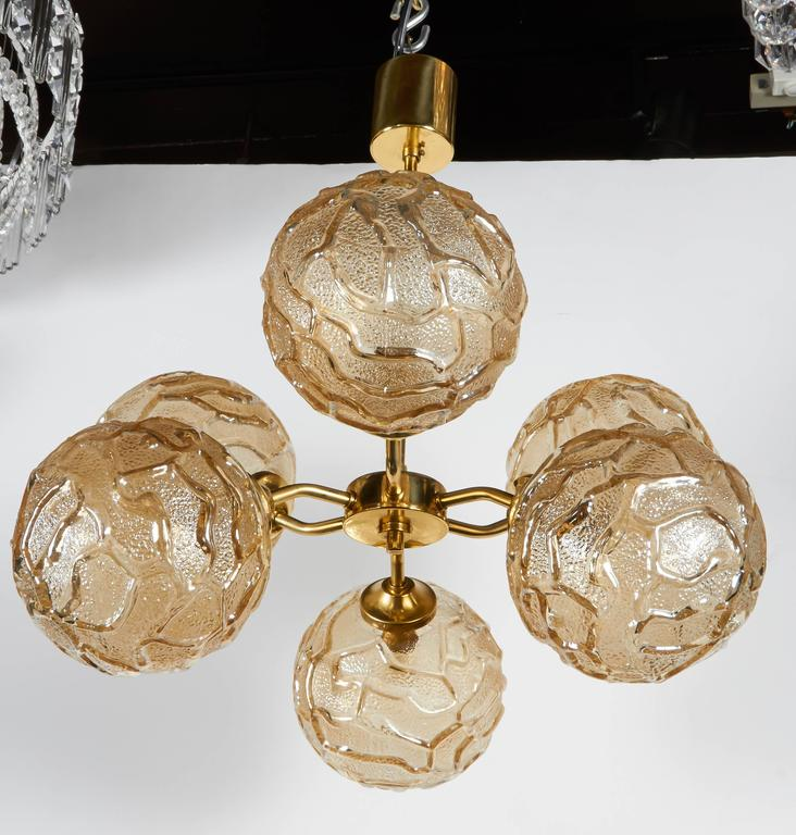French Mid-Century Sputnik Chandelier with Champagne Glass Globes 3